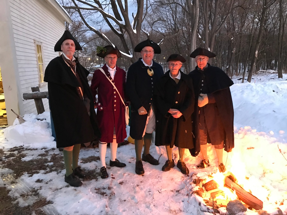 The Billerica Colonial Minute Men kept the fire burning bright at the Billerica Historical Society's Victorian Christmas event at the Clara Sexton House. -- photo by Mary Leach